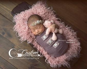 Newborn Cocoon Photo Prop, 2 SIDES - Kat Purple Newborn Props Snuggle Sack Button, Newborn Photo Props, Baby Props, Girls Sleeper Sack