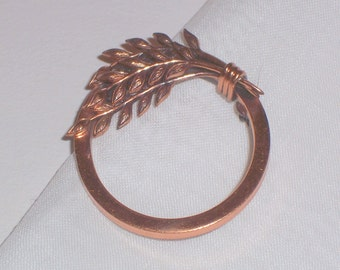Vintage Solid Copper Circle Brooch or Pin with Leaves