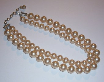 Vintage Glass Pearl Double Strand Necklace