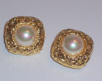 Vintage Nolan Miller Clip On Earrings with Faux Pearls