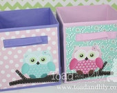 Set of 2 Sweet Little Owl Fabric Bins Girl's Bedroom Baby Nursery Organizer for Toys or Clothing
