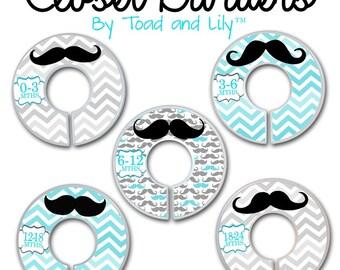 CLOSET DIVIDERS Aqua Blue and Grey Chevron Moustache Boys Bedroom and Baby Nursery Art Decor CD0047