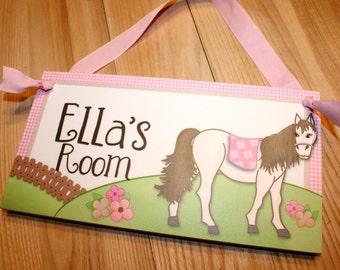 Shabby Pink Horse Pony Bedroom DOOR SIGN Wall Art DS0342
