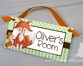 Fox Baby and Me Woodland Forest Critters Nature Forest Foxes Bedroom and Baby Nursery Kids Bedroom Door Sign Wall Art DS0191