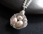 Bird's Nest Necklace, Mother's Day Necklace, Pearl, Sterling Silver by CircesHouse on Etsy, Bridesmaid Gift, Baby Shower