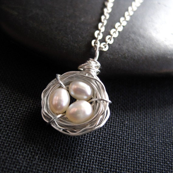 "Bird's Nest Necklace with Freshwater Pearls on Sterling Silver - ""Home"" by CircesHouse on Etsy"
