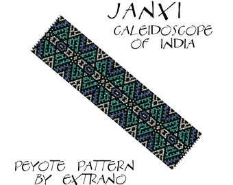 Peyote Bracelet Pattern by Extrano - JANXI - Caleidoscope of India - 4 colors ONLY - Instant download
