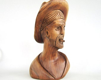 Vintage Carved Wood Smoking Man Sculpture Mid Century