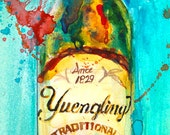 Beer Art Yuengling Beer Art  Print from Original Watercolor  Giclee or Archival Man Cave Bar