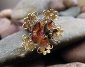 Fantasy Garden Hairstick - Ornate Filigree Flower with Pale Amethyst Swarovski Crystal and Soaring Bird