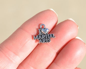 10 Silver I Love Martial Arts Charms SC1024