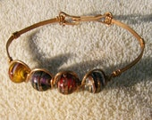 Handmade Copper Bracelet, Wire Wrapped with Glass Beads by JewelryArtistry - BR478