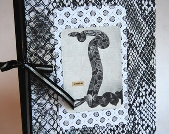 Upcycled Notebook, Journal, Black and White, Snake