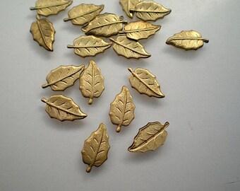 18 tiny brass leaf charms, No. 6