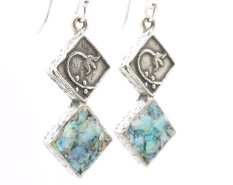 Roman glass earrings with a flower scroll on sterling silver