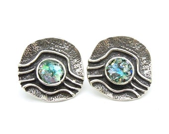 Silver post earrings, with roman glass, landscape pattern