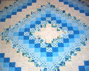 Blue and Beige Quilt Top - Around The World Design