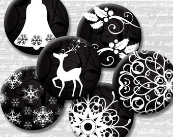 Christmas Black and White Digital Collage Sheet Circle 18mm 16mm 14mm 12mm Circle Round on 4x6 8.5x11 Sheets for Earrings Image