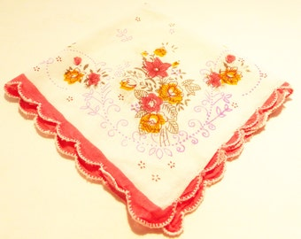 Hanki flower print cotton vintage 50's handkerchief flowers on white background red edge