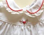 SALE Little sweet heart pinafore dress in red and white 0 to 3 months