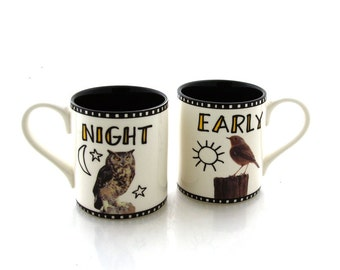 mr and mrs mug set, owl and bird,  great wedding gift for couple, his and hers, his and his, woodland wedding, gifts under 20