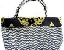 Large Herringbone Tote with Brocade Trim