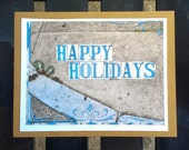 Happy Holidays New Orleans street tiles Note Cards set of 5 blank w envelopes