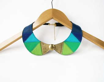 Leather Bib Necklace Blue Green Gold Statement Leather Necklace Geometric Triangles Necklace Detachable Collar