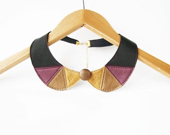 Black and Purple Bib Necklace Purple Bronze Metallic Leather Collar Bib Necklace Black Jewelry Europeanstreetteam Triangles Leather Necklace