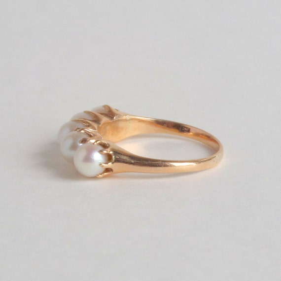 Antique Engagement Pearl Ring Victorian Claw Set Row by pinguim