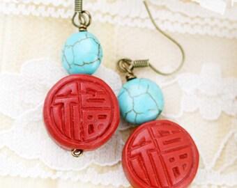 Oriental Fu earrings - cinnabar and turqurenite