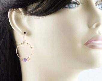 """Forcusing hoop earrings - fluorite 1"""" hoop"""
