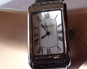 ColdWater Creek Retired Design Watch Leather Black Band and Onyx Push Pin Jewel Working Excellent Condition On SaLe Now