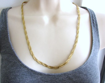 Vintage simple gold braided chain necklace