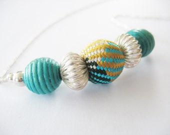 Beaded Necklace, Large Focal, Woven Silk, Wood, Turquoise, Silver, Teal, Textural, Link Chain