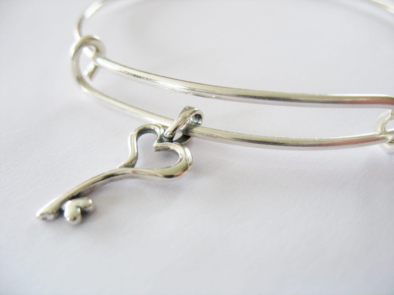 adjustable charm bracelet sterling silver wire bangle