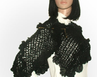 Black knitted scarf shawl wrap Stole Freestyle knit with freeform crochet motifs & glass beads, women's OOAK Scarf