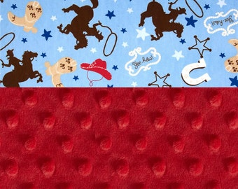 Minky Baby Blanket boy,  Personalized Baby Blanket - Cowboy Blue Red Minky blanket