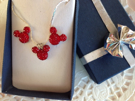 MOUSE EARS Necklace and Earrings Set for Disney Themed Wedding Party Jewelry Bright Red Acrylic