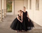 Black Flower Girl Tutu Dress with Gold Sequin Sash