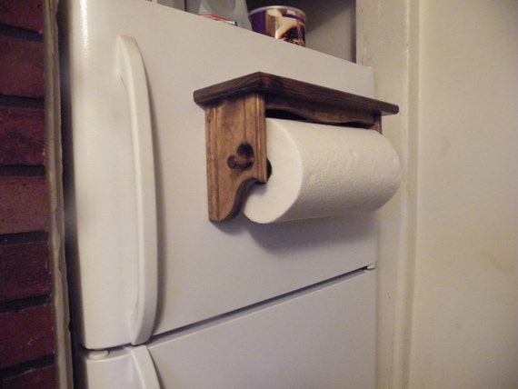 choose your stain color magnetic or wall mount paper towel holder shelf wall solid wood early. Black Bedroom Furniture Sets. Home Design Ideas