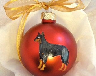 Manchester Terrier Dog Hand Painted Christmas Ornament - Can Be Personalized with Name