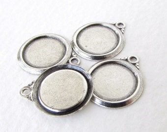 Antiqued Silver Ox Frame Setting Round Cabochon Bezel 10mm set0323 (6)