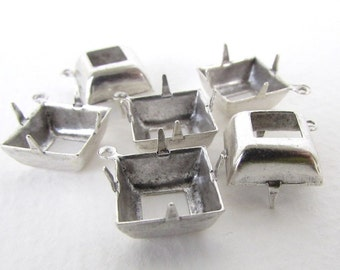 Prong Setting Antiqued Silver Ox Square Rhinestone Open Back 1 Ring 12mm set0344 (6)