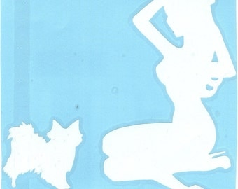 Papillon and Pin Up Silhouette, White Vinyl Decal