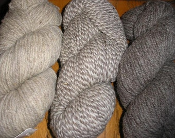 3 Shades of Fisherman Wool Yarn in Natural Undyed Shades     SALE