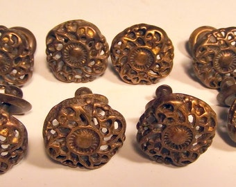 Set of 8 Antiqued Solid Brass Filigree  Drawer Pulls