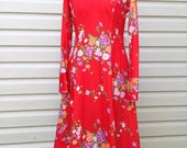 Excellent Condition 1970s Cherry Poly Dress
