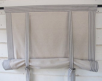 "Black Ticking 60"" Long Roll Up Window Shade Mitered Banding Tie Up Rolled Curtain"