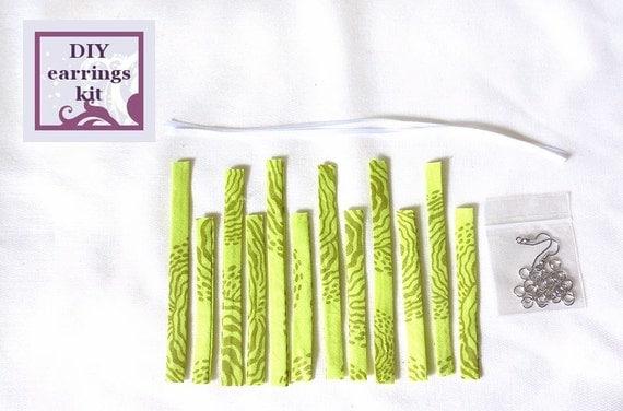 Earrings kit diy fabric chandelier earrings kit with pre cut fabric from handmadeclassics on - Diy chandelier kit ...